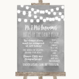Grey Watercolour Lights Rules Of The Dance Floor Customised Wedding Sign