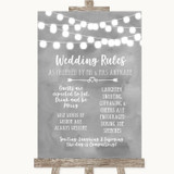 Grey Watercolour Lights Rules Of The Wedding Customised Wedding Sign