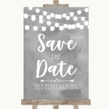 Grey Watercolour Lights Save The Date Customised Wedding Sign