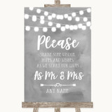 Grey Watercolour Lights Share Your Wishes Customised Wedding Sign
