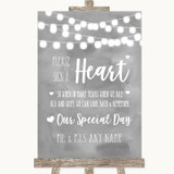 Grey Watercolour Lights Sign a Heart Customised Wedding Sign