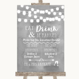 Grey Watercolour Lights Signature Favourite Drinks Customised Wedding Sign