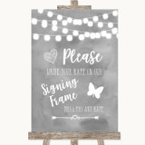 Grey Watercolour Lights Signing Frame Guestbook Customised Wedding Sign