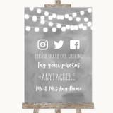 Grey Watercolour Lights Social Media Hashtag Photos Customised Wedding Sign