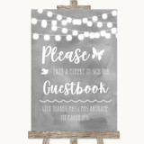 Grey Watercolour Lights Take A Moment To Sign Our Guest Book Wedding Sign