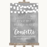 Grey Watercolour Lights Take Some Confetti Customised Wedding Sign