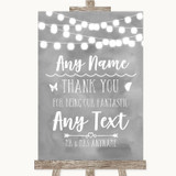 Grey Watercolour Lights Thank You Bridesmaid Page Boy Best Man Wedding Sign