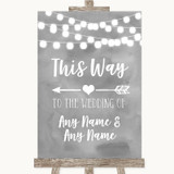 Grey Watercolour Lights This Way Arrow Left Customised Wedding Sign