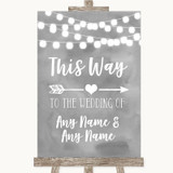 Grey Watercolour Lights This Way Arrow Right Customised Wedding Sign