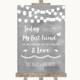 Grey Watercolour Lights Today I Marry My Best Friend Customised Wedding Sign