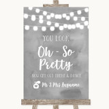 Grey Watercolour Lights Toilet Get Out & Dance Customised Wedding Sign
