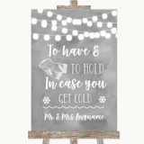 Grey Watercolour Lights Wedding Blanket Scarf Customised Wedding Sign