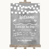 Grey Watercolour Lights Welcome Order Of The Day Customised Wedding Sign