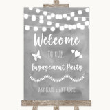 Grey Watercolour Lights Welcome To Our Engagement Party Wedding Sign