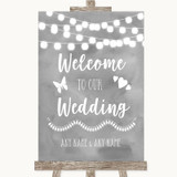 Grey Watercolour Lights Welcome To Our Wedding Customised Wedding Sign