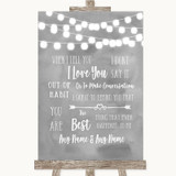 Grey Watercolour Lights When I Tell You I Love You Customised Wedding Sign