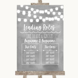 Grey Watercolour Lights Who's Who Leading Roles Customised Wedding Sign
