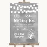 Grey Watercolour Lights Wishing Tree Customised Wedding Sign
