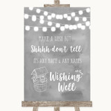 Grey Watercolour Lights Wishing Well Message Customised Wedding Sign