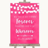 Hot Fuchsia Pink Watercolour Lights Informal No Seating Plan Wedding Sign
