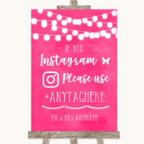 Hot Fuchsia Pink Watercolour Lights Instagram Hashtag Customised Wedding Sign