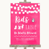 Hot Fuchsia Pink Watercolour Lights Kids Table Customised Wedding Sign