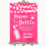 Hot Fuchsia Pink Watercolour Lights Message In A Bottle Wedding Sign
