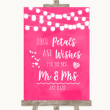 Hot Fuchsia Pink Watercolour Lights Petals Wishes Confetti Wedding Sign