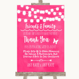 Hot Fuchsia Pink Lights Photo Guestbook Friends & Family Wedding Sign