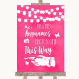 Hot Fuchsia Pink Watercolour Lights Photobooth This Way Left Wedding Sign