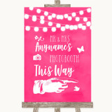 Hot Fuchsia Pink Watercolour Lights Photobooth This Way Right Wedding Sign