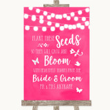 Hot Fuchsia Pink Watercolour Lights Plant Seeds Favours Wedding Sign