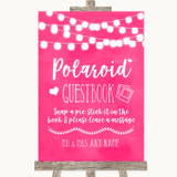 Hot Fuchsia Pink Watercolour Lights Polaroid Guestbook Customised Wedding Sign