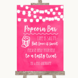 Hot Fuchsia Pink Watercolour Lights Popcorn Bar Customised Wedding Sign