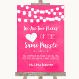 Hot Fuchsia Pink Watercolour Lights Puzzle Piece Guest Book Wedding Sign