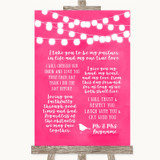Hot Fuchsia Pink Watercolour Lights Romantic Vows Customised Wedding Sign