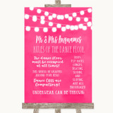 Hot Fuchsia Pink Watercolour Lights Rules Of The Dance Floor Wedding Sign