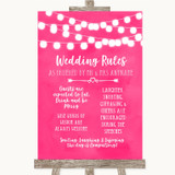 Hot Fuchsia Pink Watercolour Lights Rules Of The Wedding Sign