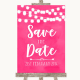 Hot Fuchsia Pink Watercolour Lights Save The Date Customised Wedding Sign