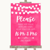 Hot Fuchsia Pink Watercolour Lights Share Your Wishes Customised Wedding Sign