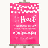 Hot Fuchsia Pink Watercolour Lights Sign a Heart Customised Wedding Sign