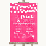 Hot Fuchsia Pink Watercolour Lights Signature Favourite Drinks Wedding Sign