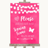 Hot Fuchsia Pink Watercolour Lights Signing Frame Guestbook Wedding Sign