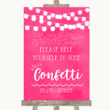 Hot Fuchsia Pink Watercolour Lights Take Some Confetti Customised Wedding Sign