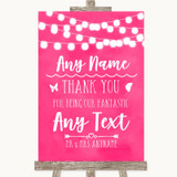 Hot Fuchsia Pink Lights Thank You Bridesmaid Page Boy Best Man Wedding Sign