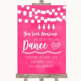 Hot Fuchsia Pink Watercolour Lights Toiletries Comfort Basket Wedding Sign