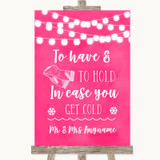 Hot Fuchsia Pink Watercolour Lights Wedding Blanket Scarf Wedding Sign