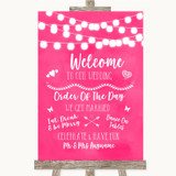 Hot Fuchsia Pink Watercolour Lights Welcome Order Of The Day Wedding Sign