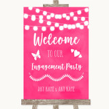 Hot Fuchsia Pink Watercolour Lights Welcome To Our Engagement Party Wedding Sign