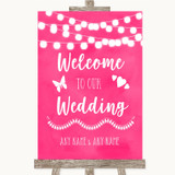 Hot Fuchsia Pink Watercolour Lights Welcome To Our Wedding Sign